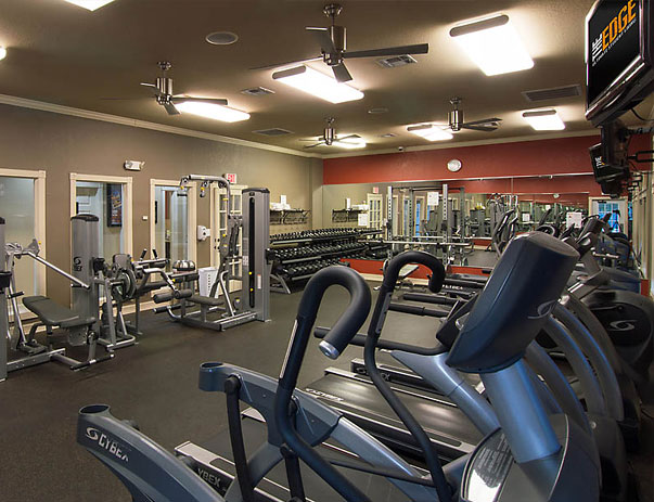 Treadmills and Free Weights at The Edge Apartments